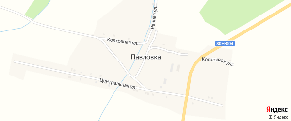 Колхозная улица на карте деревни Павловки с номерами домов