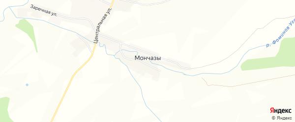 Карта деревни Мончаз в Башкортостане с улицами и номерами домов