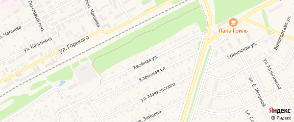 Хвойная улица на карте села Иглино с номерами домов