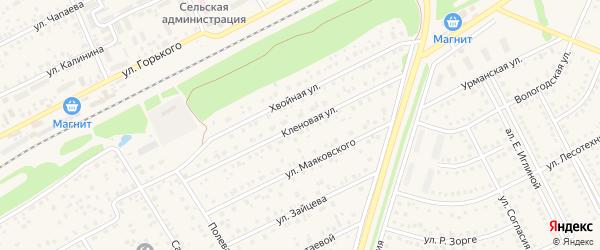 Кленовая улица на карте села Иглино с номерами домов