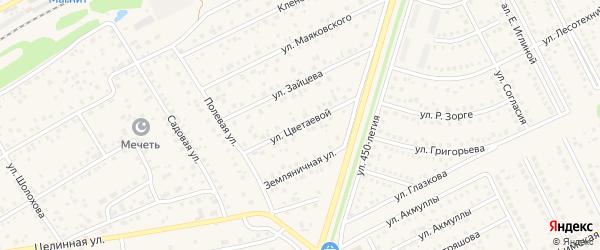 Улица М.Цветаевой на карте села Иглино с номерами домов