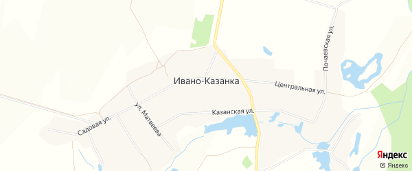 Карта села Ивано-Казанки в Башкортостане с улицами и номерами домов