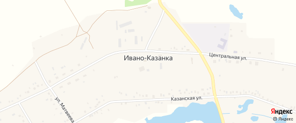 Улица Мустая Карима на карте села Ивано-Казанки с номерами домов