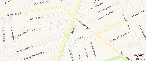 Улица Донского на карте села Иглино с номерами домов