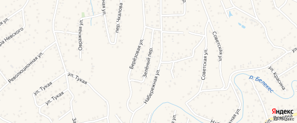Зеленый переулок на карте села Иглино с номерами домов