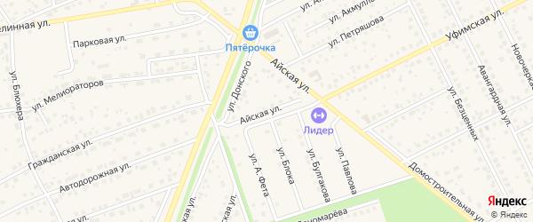 Айская улица на карте села Иглино с номерами домов