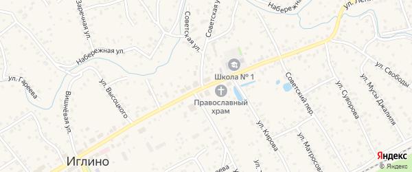 Улица Ленина на карте села Иглино с номерами домов