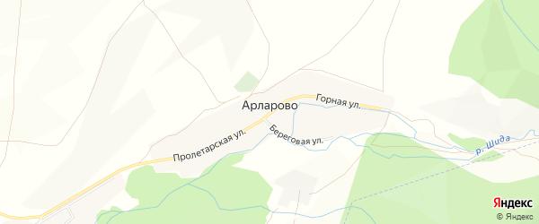 Карта деревни Арларово в Башкортостане с улицами и номерами домов
