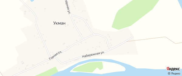 Набережная улица на карте деревни Укмана с номерами домов