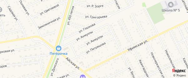 Улица Акмуллы на карте села Иглино с номерами домов