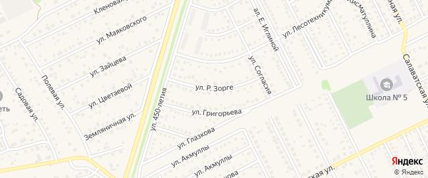 Улица Р.Зорге на карте села Иглино с номерами домов