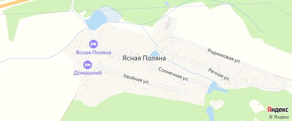 Солнечная улица на карте деревни Ясной Поляны с номерами домов