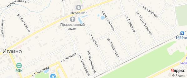 Улица Кирова на карте села Иглино с номерами домов
