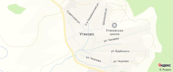Карта села Утяково в Башкортостане с улицами и номерами домов