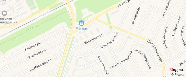 Урманская улица на карте села Иглино с номерами домов