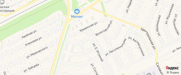 Вологодская улица на карте села Иглино с номерами домов