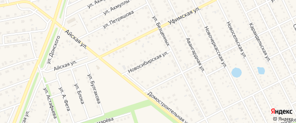 Новосибирская улица на карте села Иглино с номерами домов