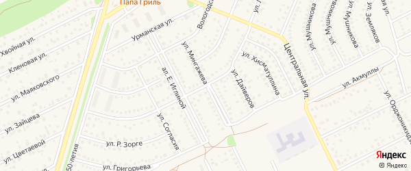 Улица Мингажева на карте села Иглино с номерами домов