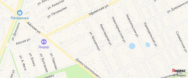 Улица Безценных на карте села Иглино с номерами домов