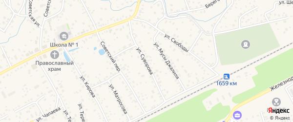 Улица Суворова на карте села Иглино с номерами домов