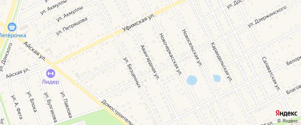 Авангардная улица на карте села Иглино с номерами домов