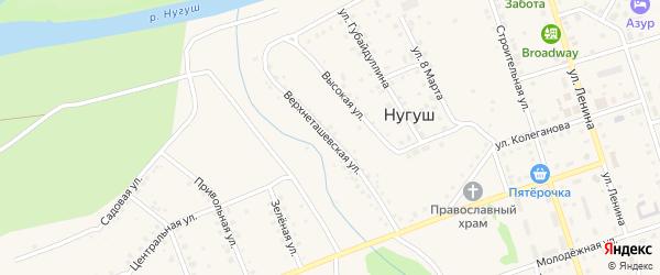 Верхнеташевская улица на карте села Нугуша с номерами домов