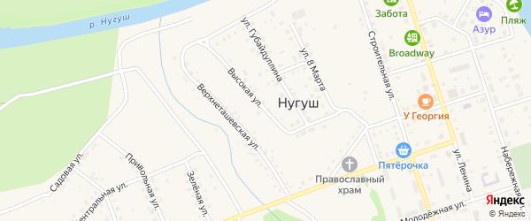 Высокая улица на карте села Нугуша с номерами домов