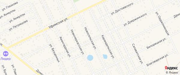 Новосельская улица на карте села Иглино с номерами домов