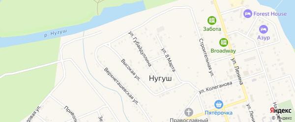 Улица Губайдуллина на карте села Нугуша с номерами домов