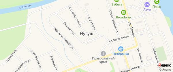 Зеленая улица на карте села Нугуша с номерами домов