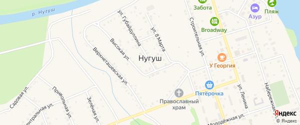 Солнечная улица на карте села Нугуша с номерами домов