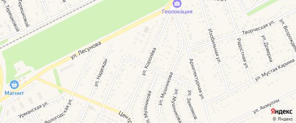 Улица Королева на карте села Иглино с номерами домов