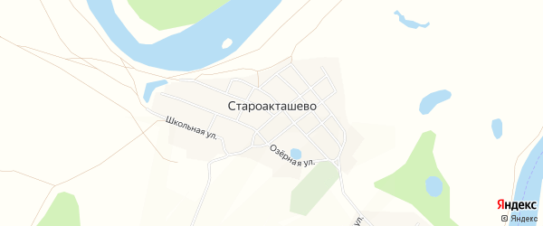 Карта деревни Староакташево в Башкортостане с улицами и номерами домов