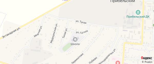 Улица Гоголя на карте села Прибельского с номерами домов