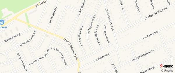Улица Мушникова на карте села Иглино с номерами домов
