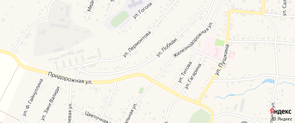 Улица Победы на карте села Прибельского с номерами домов