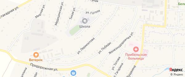 Улица Лермонтова на карте села Прибельского с номерами домов