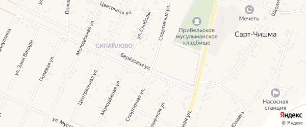 Спортивная улица на карте села Сарта-Чишма с номерами домов