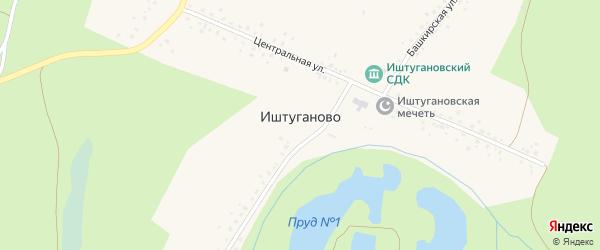 Центральная улица на карте деревни Иштуганово с номерами домов