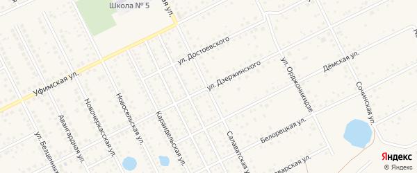 Улица Дзержинского на карте села Иглино с номерами домов