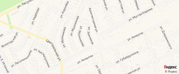 Улица Земляков на карте села Иглино с номерами домов