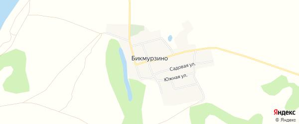 Карта деревни Бикмурзино в Башкортостане с улицами и номерами домов