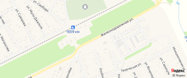 Железнодорожная улица на карте села Иглино с номерами домов