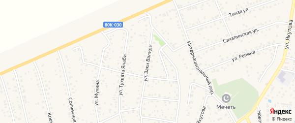 Улица Заки Валиди на карте села Иглино с номерами домов