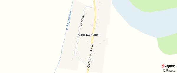 Октябрьская улица на карте деревни Сысканова (Бакчалы) с номерами домов