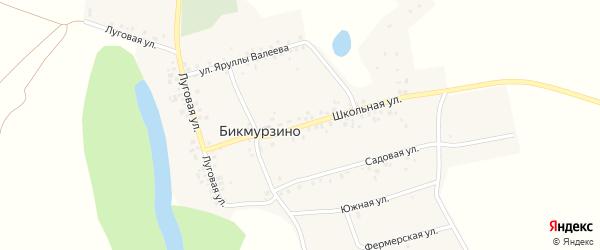 Школьная улица на карте деревни Бикмурзино с номерами домов