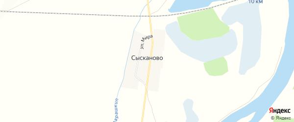 Карта деревни Сысканова (Бакчалы) в Башкортостане с улицами и номерами домов