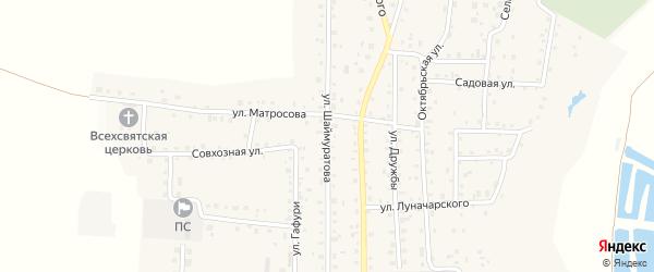 Улица Шаймуратова на карте села Прибельского с номерами домов