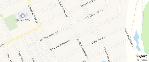 Улица Орджоникидзе на карте села Иглино с номерами домов
