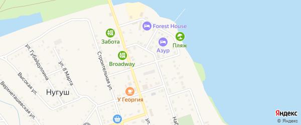 Береговая улица на карте села Нугуша с номерами домов